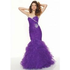 Trumpet/Mermaid sweetheart floor length purple organza prom dress with ruffles