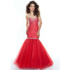 Trumpet/Mermaid sweetheart floor length red beaded tulle prom dress
