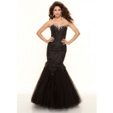 Trumpet/Mermaid sweetheart long black lace and tulle prom dress with beading