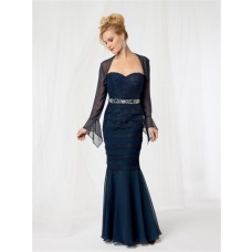 Trumpet/Mermaid sweetheart long blue chiffon lace mother of the bride dress with jacket