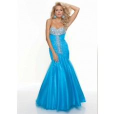 Trumpet/Mermaid sweetheart long blue tulle beaded prom dress with train