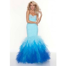Trumpet/Mermaid sweetheart long multi color prom dress with beaded and ruffles