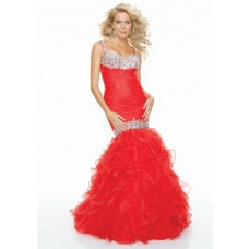 Trumpet/Mermaid sweetheart sexy backless red beaded prom dress with straps