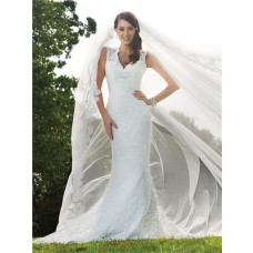 Trumpet/Mermaid v neck backless lace wedding dress