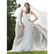 Trumpet/Mermaid v neck backless lace wedding dress