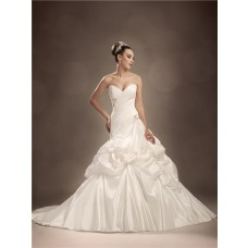 Trumpet/Mermaid sweetheart chapel train pleated taffeta wedding dress