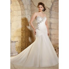 Trumpet Strapless Ruched Tulle Crystals Beaded Plus Size Wedding Dress Corset Back