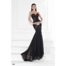 Trumpet Sweetheart Black Tulle Lace Evening Prom Dress