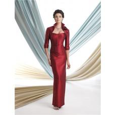 Two Piece Suit Burgundy Taffeta Corset Mother Of The Bride Evening Dress Bolero Jacket