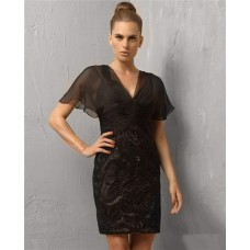 Unique Column V Neck Short/ Mini Black Embroidery Cocktail Evening Dress With Sleeve