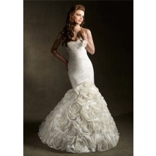 Unique Fit And Flare Mermaid Sweetheart Ruched Taffeta Floral Wedding Dress
