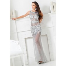 Unique Gorgeous Sheath Bateau Neck Backless Long Silver Tulle Beaded Prom Dress