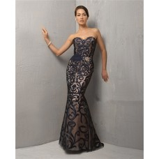 Unique Mermaid Strapless Long Black Embroidery Lace Evening Dress With Beading