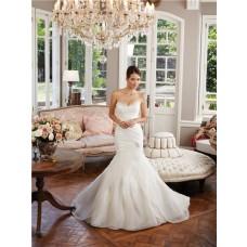 Unique Mermaid Sweetheart Layered Organza Ruffle Wedding Dress Lace Up Back