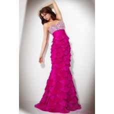 Unique Mermaid Sweetheart Tiered Beaded Hot Pink Prom Dress With Corset Back