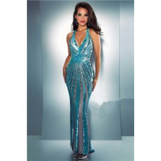 Unique Sexy Sheath Halter Backless Turquoise Blue Sequin Evening Prom Dress