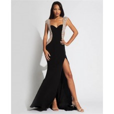 Unique Sexy Sweetheart Cap Sleeve Backless Long Black Chiffon Tulle Beaded Evening Prom Dress With Slit