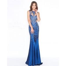 Unique Sheath Cutouts Open Back Royal Blue Taffeta Beaded Evening Prom Dress