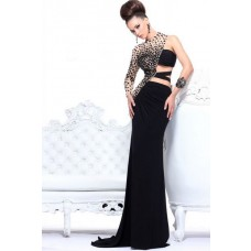 Unique Slim One Shoulder Long Black Chiffon Champagne Tulle Beaded Evening Prom Dress