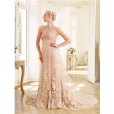 Unique Strapless Sweetheart Empire Waist Peach Tulle Lace Pearl Colored Wedding Dress