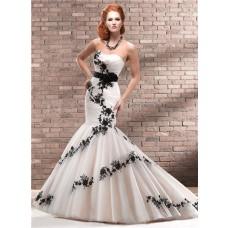 Unique Trumpet/ Mermaid Strapless Champagne Black Lace Wedding Dress With Sash