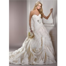 Unusual Ball Gown Sweetheart Structured Ivory Organza Couture Wedding Dress With Sash