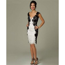 Unusual Fitted Sweetheart Short White And Black Lace Occasion Evening Dress