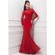 Unusual Mermaid High Neck Red Chiffon Lace Long Sleeve Evening Prom Dress