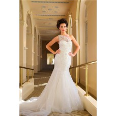 Unusual Mermaid One Shoulder Sparkle Sequins Wedding Dress With Cathedral Train
