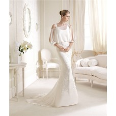 Unusual Mermaid Scoop Neck Chiffon Beaded Wedding Dress With Sleeves