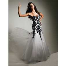 Unusual Mermaid Sweetheart Long White Tulle Black Lace Evening Prom Dress