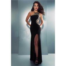 Unusual Sexy Side Cut Out Slit Long Black Chiffon Beaded Prom Party Dress