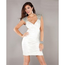 V Neck Cap Sleeve Cut Out Backless Short Mini White Jersey Club Cocktail Party Dress