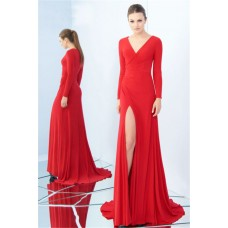 V Neck Full Back High Slit Long Sleeve Red Jersey Prom Dress