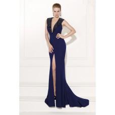 V Neck Sleeveless High Slit Navy Satin Beaded Formal Occasion Evening Dress
