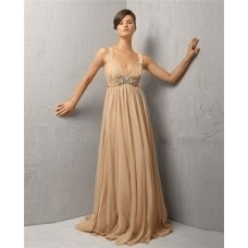 Vintage A Line Long Khaki Chiffon Beading Evening Dress With Straps