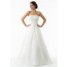 Vintage A Line Strapless Organza Draped Lace Beaded Corset Wedding Dress Court Train
