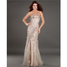 Vintage Mermaid Strapless Champagne Tulle Lace Beaded Evening Prom Dress
