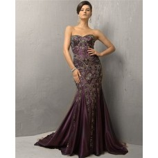Vintage Mermaid Strapless Long Purple Silk Beading Evening Dress