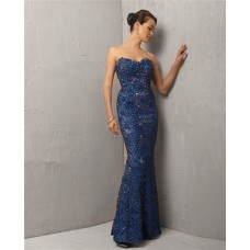 Vintage Mermaid Sweetheart Long Royal Blue Lace Evening Wear Dress