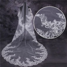 Vintage One Tier Tulle Lace Long Cathedral Wedding Bridal Veil