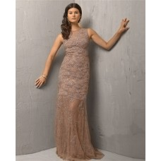 Vintage Sheath Sleeveless Long Light Brown Lace Beaded Evening Wear Dress