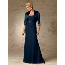 Vintage long navy blue beaded chiffon mother of the bride dress with jacket