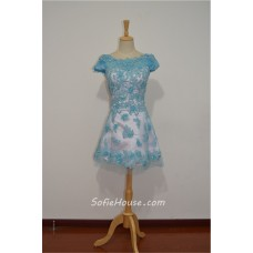 A Line Bateau Neck Short Sleeve Mini Pink Tulle Blue Lace Prom Dress V Back