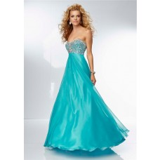 A Line Sweetheart Empire Waist Open Back Long Turquoise Chiffon Prom Dress