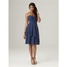 A line sweetheart knee length short navy blue chiffon ruffle bridesmaid dress