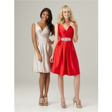 A line v neck knee length short red silk satin bridesmaid dress with beading belt