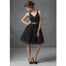 A line v neck short black lace beaded sash bridesmaid dress