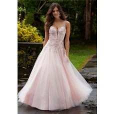 A Line Long Light Pink Tulle Beading Plunging Neckline Prom Dress