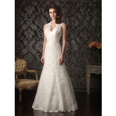 A Line Scalloped Neck Keyhole Lace Wedding Dress Open Back